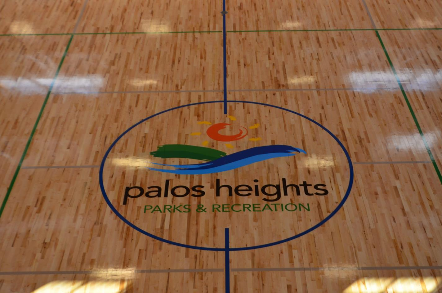 Palos Heights Parks and Recreation Logo on the Gym Floor
